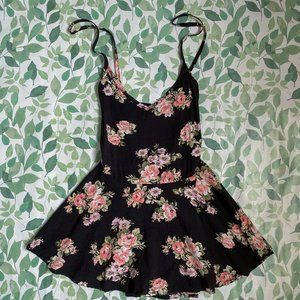 Papaya Black Floral Peplum Babydoll Lace Back Tank